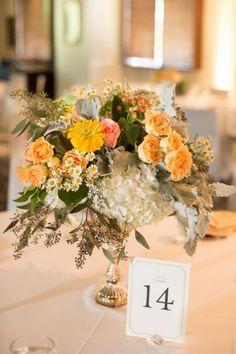 Yellow and blush centerpiece | Romantic Navy & Blush Oklahoma Wedding via TheELD.com