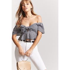 Forever21 Gingham Peplum Crop Top ($18) ❤ liked on Polyvore featuring tops, short sleeve peplum top, white peplum top, peplum tops, off the shoulder peplum top and long-sleeve crop tops