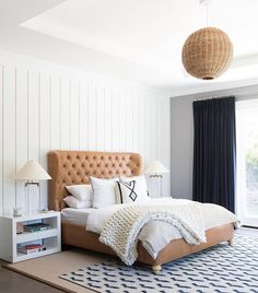 A brilliant way to bring rattan home. The look is incredibly versatile, able to illuminate a dinner party, add warmth to a bedroom, or give your living room a coastal glow. Bedroom Retreat, Home Bedroom, Master Bedroom, Bedroom Lamps, Bedroom Decor, Bedroom Setup, Bedding Decor, Bedroom Inspo, Bedroom Wall
