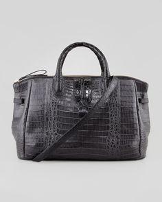 Nancy Gonzalez Center-Zip Crocodile Tote Bag, Gray - Bergdorf Goodman