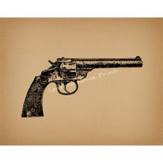 Revolver Print Antique Wall Art Western Gun Home Decor Vintage Gun Print with Antique Aged Paper Style Background No.1513 B1 8x8 8x10 11x14, $12.00
