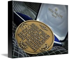 """Patek Philippe Geneve Commemorative Medal Coin $74 // Style: Black Edge Canvas Print; Size: Small 11"""" x 15"""" // Visit http://www.imagekind.com/Patek-Philippe-Geneve-PPG_art?IMID=bae1610e-bc86-4d74-b114-9f3600a883e3 for product details."""
