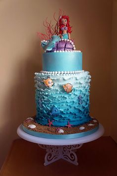 Ariel the little mermaid - by Cherry @ CakesDecor.com - cake decorating website