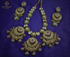 This chand bali style set with kundan and intricate meena is an absolute stunner!! Neckpiece: Rs.22,500/- Earrings:Rs.6,800/- Place your order by sending us an email with the item code to justjewellery08@gmail.com