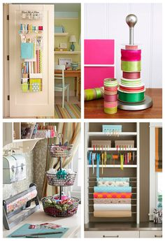 There are endless ways to store your wrapping supplies, even using things you may already have lying around your home. For example, simple tension rods make amazing ribbon and wrapping paper holders and stacking or decorative baskets are great for stashing away bows and tags. If storage space is at a premium in your abode, consider using the backside of a closet door to keep it all organized.