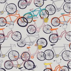 Ride by Julia Rothman - 1 Yard - Windham Fabrics - Bicycles - Gray Fabric - Sewing Fabric - Quilts - Bike Fabric - Bicycle Fabric