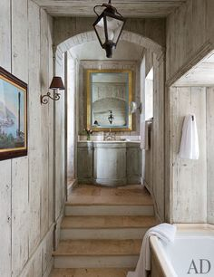 Antiques in the Bath ~ A Rustic Swiss Alpine Hideaway : Architectural Digest