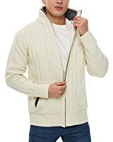 274b58df29a APRAW Men s Casual Cardigan Sweaters Slim Full Zip Thick Knitted with  Pockets for Winter Outwear White