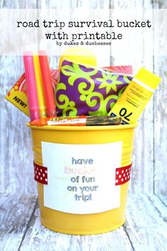 Road trip survival bucket with printable. Perfect for traveling with kids.