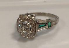 Art Deco emerald and diamond