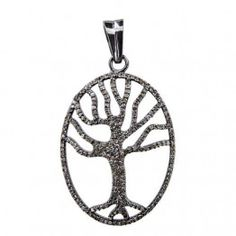 1.5Ct Pave Diamond Tree Of Life Pendant Vintage Style 925 Silver LATEST Jewelry