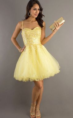 Sparkly Yellow Short Sequin A Line Homecoming Dress [Short Sequin A Line dresses] - $150.00 : Cheap Prom Dresses, Bracelets, High Heels Online--DressinTrends