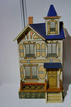 Wonderful little blue roof dollhouse 1895 for the french market from lafarandolls on Ruby Lane