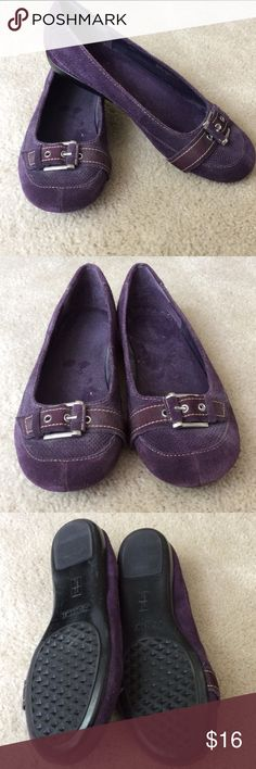 Aerosoles Purple Suede Flats These cute flats have a nice buckle detail.  Barely worn.  Great with jeans or dresses up!  These are a re-posh as they weren't exactly what my daughter was looking for.  Great shoes! AEROSOLES Shoes Flats & Loafers