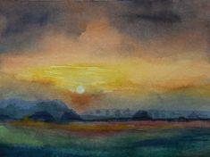 Sonnenuntergang im Herbst © Aquarell von Frank Koebsch