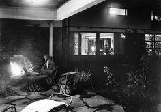 Maire Gullichsen beside the outdoor fireplace. Villa Mairea 1938-39.