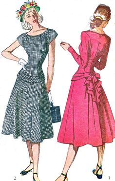 1940s Dress Pattern Simplicity 2099 Back Button Gored Skirt Day or Evening Dress Drop Waist and Bustle Womens Vintage Sewing Pattern Bust 33