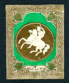 Embossed linen label, man on horseback