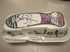 hot dog container sarcophagus! so cute! has a clay mummy inside!