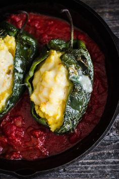 polenta stuffed poblano peppers with tomato adobo sauce Veggie Dishes, Veggie Recipes, Food Dishes, Mexican Food Recipes, Whole Food Recipes, Vegetarian Recipes, Cooking Recipes, Healthy Recipes, Vegan Polenta Recipes