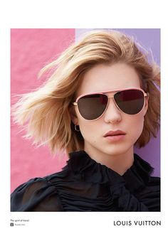Lea Seydoux models aviator sunglasses from Louis Vuitton