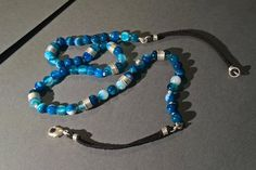 Beaded Necklace with Blue Agate  Chains of Atlas by Kieritivity