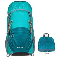 939ed9eb802 G4Free Large 40L Lightweight Water Resistant Travel Backpack foldable  amp   Packable Hiking Daypack
