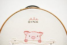 OINK  Piggy Mini Embroidery Pattern by wildolive on Etsy, $2.00