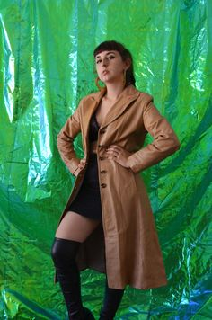 Vintage Tan Leather Trenchcoat
