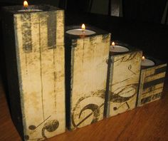 Decoupage candle holder