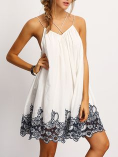 Shop Black Spagetti Strap Flower Embroidered Accent Dress online. SheIn offers Black Spagetti Strap Flower Embroidered Accent Dress & more to fit your fashionable needs.
