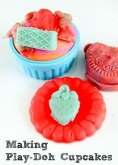 Making playdough cupcakes and cookies using shaped moulds. Lots of fun, good for fine motor skills and pretend play