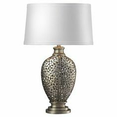 "Steel mosaic-inspired table lamp with white shade.      Product: Table lamp Construction Material: Steel and faux silk Color: Antique silver-leaf and white   Accommodates:  (1) 100 Watt medium base bulb - not included Dimensions: 30"" H x 19"" Diameter"
