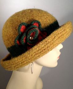 Curry Colored Felted Brim Hat by yoursbydesign on Etsy