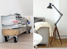 DIY bench and floor lamp