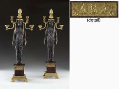 A PAIR OF EMPIRE ORMOLU, BRONZE AND ROUGE GRIOTTE MARBLE FIVE-LIGHT CANDELABRA