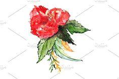 Watercolor floral boutonniere art. Watercolor Flowers