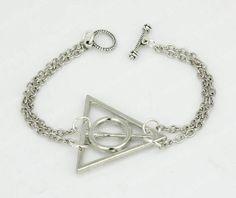 CUFF Deathly Hallows bracelet Silver chain Dog bone shaped closed design Harry Potter bracelet Harry Potter jewelry bracelet by APerfectGifts, $1.99