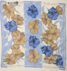 Halston Silk Scarf Shear Blue Brown Floral on Ivory and Blue 20 Inches Square…