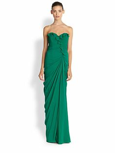 Badgley Mischka - Strapless Silk Ruffle Gown - Saks.com