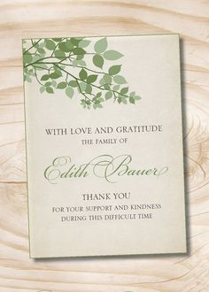 Celebration Of Life Invitation With Green Leaves  Personalized