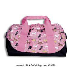 Horses in Pink Duffel Bag