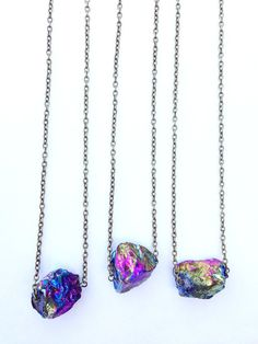 Rainbow aura quartz chunk necklace. Crystal quartz long necklace. Raw crystal. via Etsy