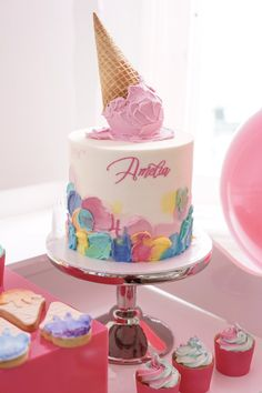 Amelia's Giant Ice Cream Cake Pop Cake — Burnt Butter Cakes Our mud cake iced with white butter cream, slapped with lashes of rainbow coloured (icing) ice cream, script name and enormous ice cream cake pop! Giant Ice Cream, Ice Cream Cone Cake, Ice Cream Birthday Cake, Ice Cream Theme, Ice Cream Party, Birthday Cake Girls, Cream Cake, Giant Birthday Cake, Birthday Cakes
