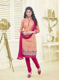 Peach Chanderi Cotton Churidar Suit 67240