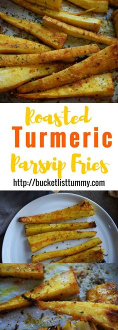 Looking for a fun, new way to use parsnips? These easy, healthy Roasted Turmeric Parsnip Fries are full of spice and flavor and ready in under 40 minutes Healthy Side Dishes, Vegetable Dishes, Side Dish Recipes, Vegetable Recipes, Healthy Snacks, Vegetarian Recipes, Cooking Recipes, Healthy Recipes, Savory Snacks