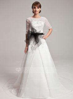 Forme Princesse Col rond Train chapelle Organza Robe de mariée avec Dentelle Ceintures Emperler (002004752)