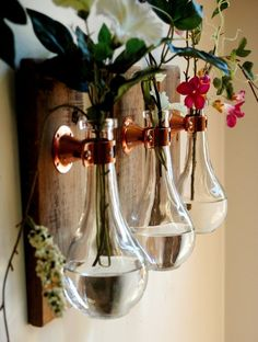 Crystal Clear Teardrop Bottles each mounted on Recycled wood for unique rustic wall decor bedroom decor kitchen decor