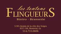 Business Card Restaurant Les Tontons Flingueurs Montreal Quebec Canada By PLURIEL DESIGN