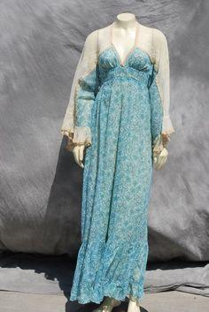 VINTAGE 70'S CONTEMPO FASHIONS HIPPIE MAXI DRESS